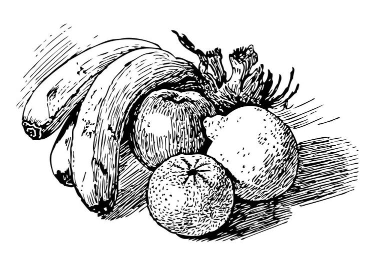 Kleurplaat Fruit Afb 17350