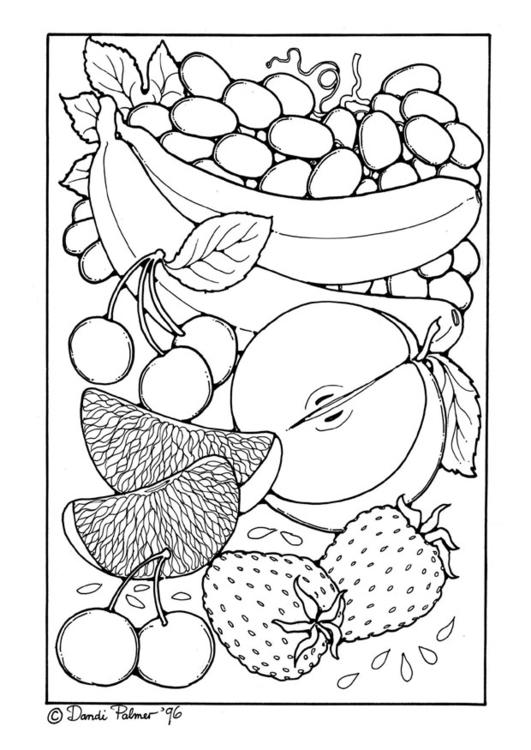 kleurplaat fruit afb 9210