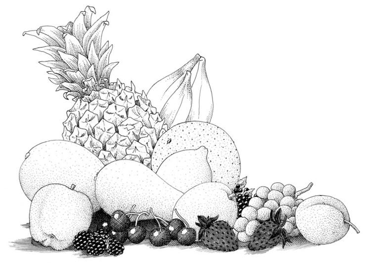 Kleurplaat Fruit Afb 9392