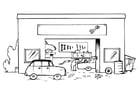 Kleurplaat garage - zonder tekst
