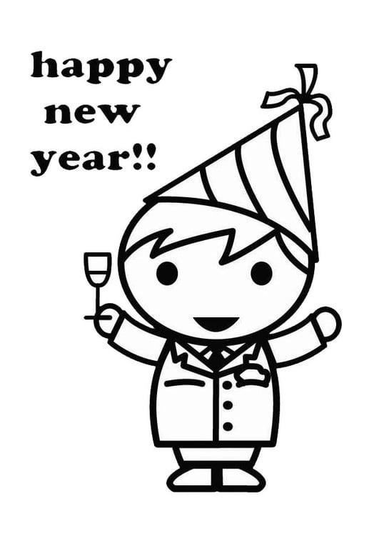 Kleurplaat Gelukkig Nieuwjaar Afb 26418