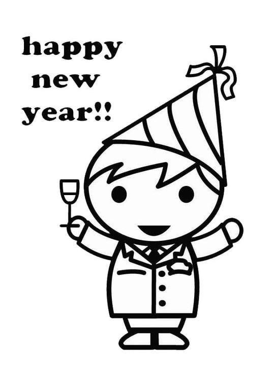 Kleurplaat Nieuwjaarsbrief Kleurplaat Gelukkig Nieuwjaar Afb 26418