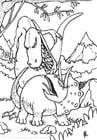 Kleurplaat gevecht dinosaurussen
