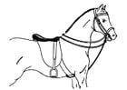 Kleurplaat gezadeld paard
