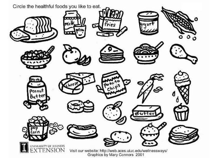 kleurplaat gezonde voeding werkblad afb 5772