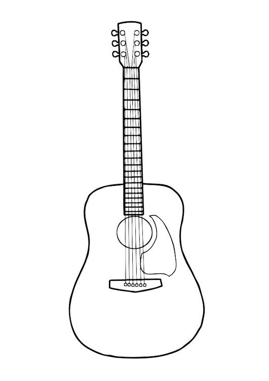 kleurplaat gitaar