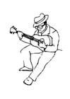 Kleurplaat gitaar speler
