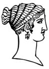 Kleurplaat Grieks kapsel