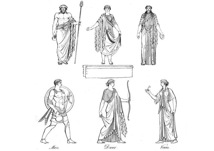 Kleurplaat Griekse Priesters En Goden Afb 9429