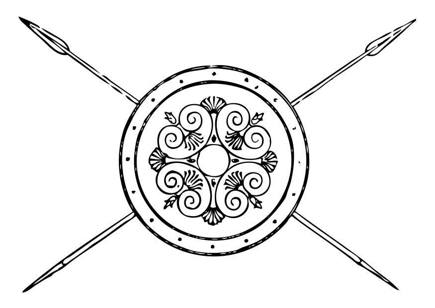 Kleurplaat Griekse Speer En Schild Afb 17351