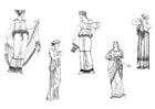 Kleurplaat Griekse vrouwen