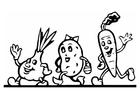 Kleurplaat groenten parade
