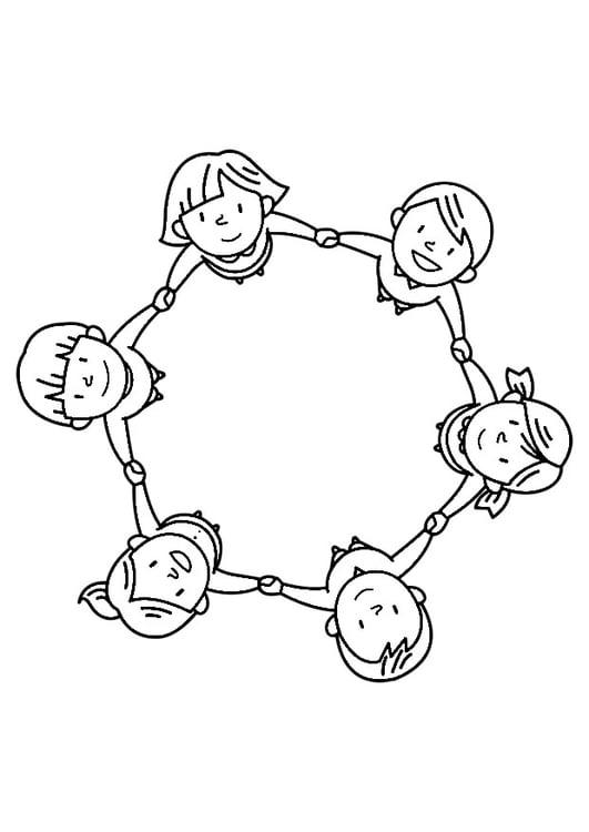 Kleurplaat Groep Kinderen Afb 30245
