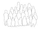 Kleurplaat groep mensen - klas