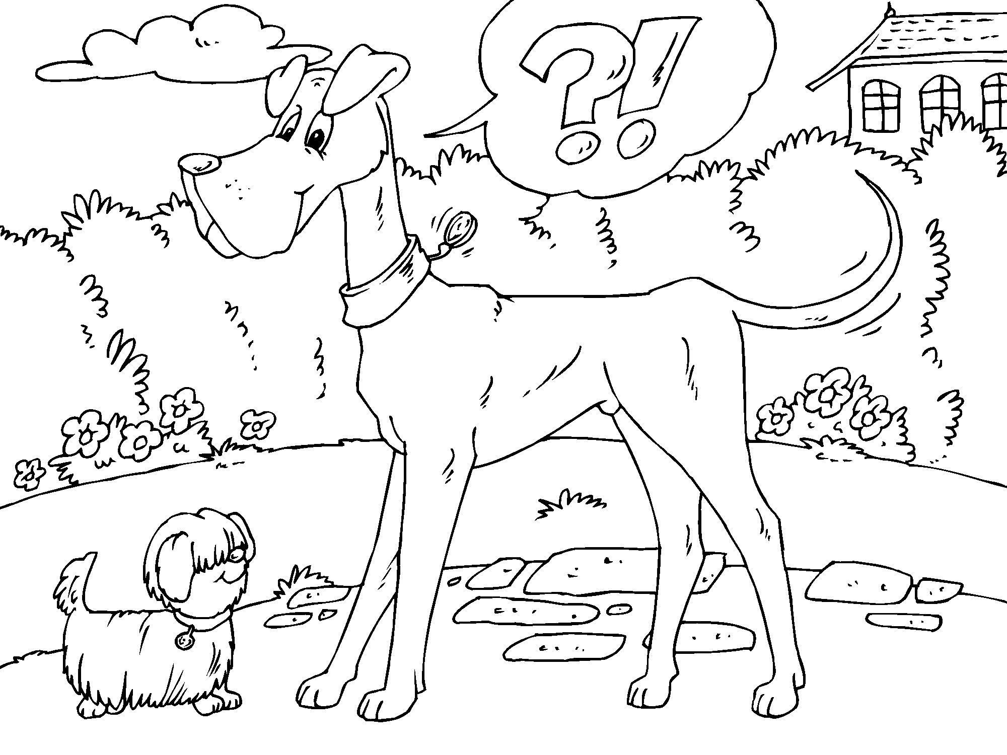 Kleurplaat Grote Hond En Kleine Hond Afb 22680