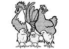 Kleurplaat haan, kip en kuikens