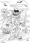Kleurplaat halloween - griezel