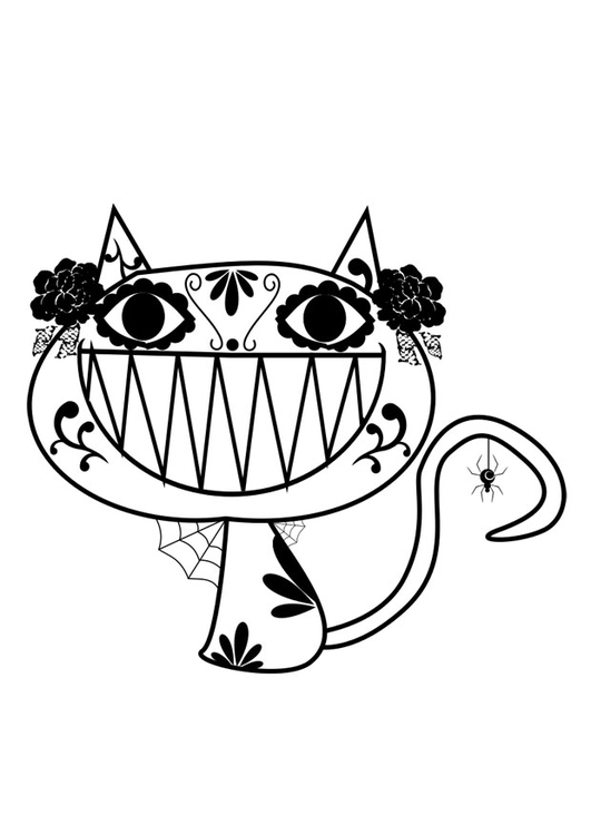 Kleurplaat Halloween Kat Afb 29411