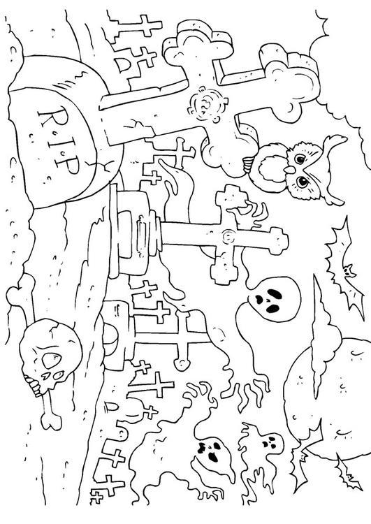 Kleurplaat Halloween kerkhof - Afb 22989.