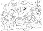 Kleurplaat Halloween kerkhof