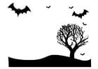 Kleurplaat Halloween landschap