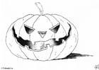 Kleurplaat halloween - pompoen