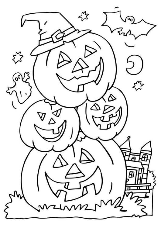 Kleurplaat Halloween Pompoenen Afb 6503