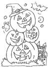 Kleurplaat Halloween pompoenen