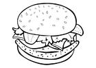 Kleurplaat hamburger