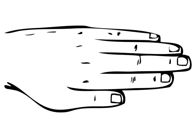 Kleurplaat Hand Afb 10230