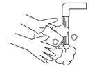 Kleurplaat handen wassen