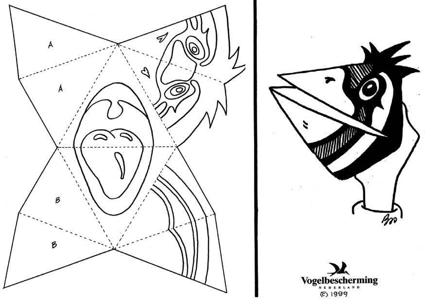 Kleurplaten Zonder Tekst.Kleurplaat Handmasker Vogel Zonder Tekst Gratis Kleurplaten
