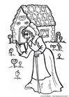 Kleurplaat Hans en Grietje - heks