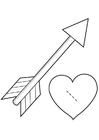 Kleurplaat hart met pijl - cupido
