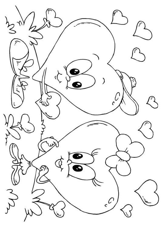 Kleurplaat Hartjes Valentijn Afb 24612