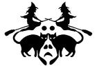 Kleurplaat heksen met zwarte katten