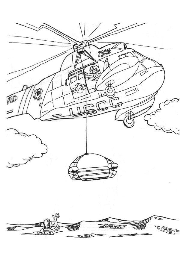 Kleurplaat reddingsactie met helicopter