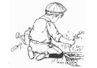 Kleurplaat helpen in de tuin