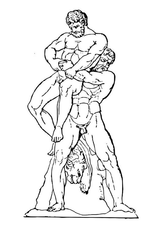 Kleurplaat Heracles En Antaios Afb 18629