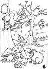 Kleurplaat herfst - egel en eekhoorn