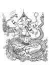 Kleurplaat hindoe god Ganesha