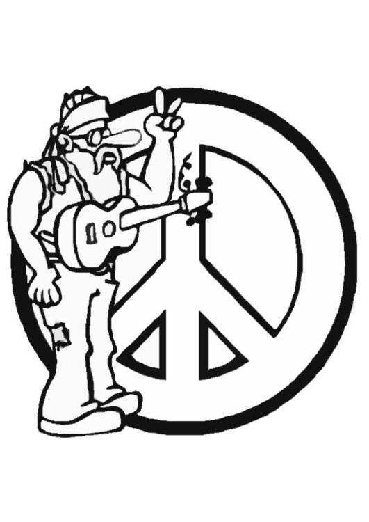 Kleurplaat hippie - Afb 8706.