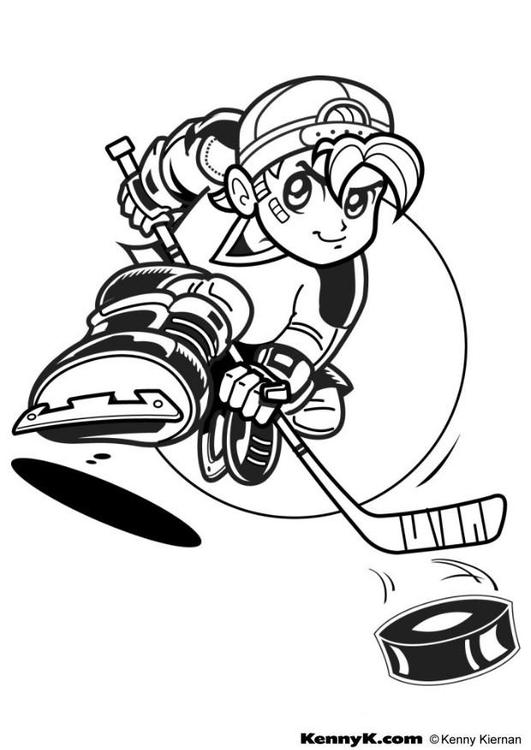 Kleurplaat Hockey Afb 7026