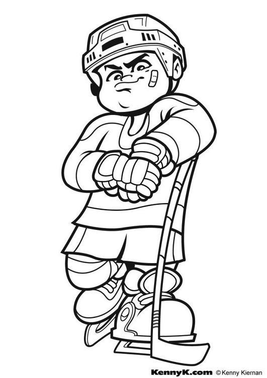college hockey coloring pages | Kleurplaat hockey - Afb 7027.