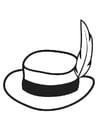 Kleurplaat hoed met pluim