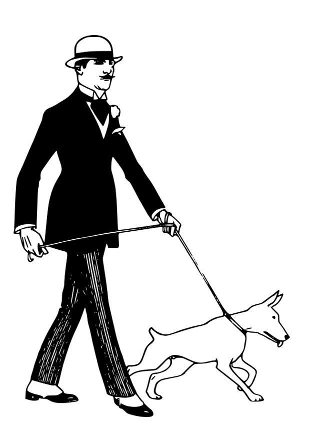 Kleurplaat Hond Uitlaten Afb 30152