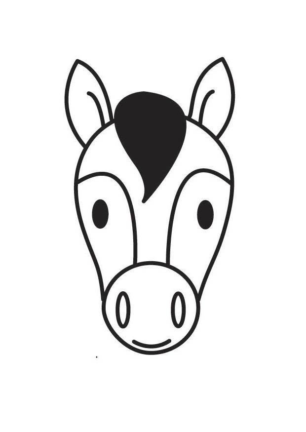 kleurplaat hoofd paard afb 17536