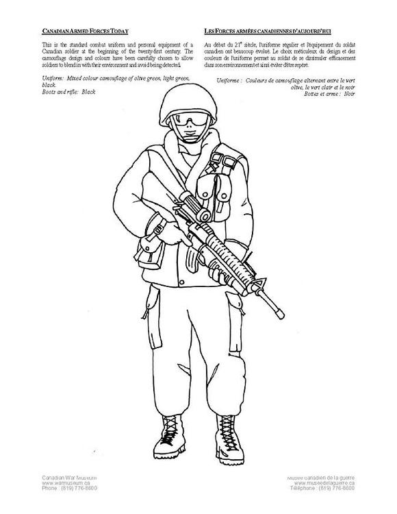 Kleurplaat Huidige Canadese Soldaat Afb 4236