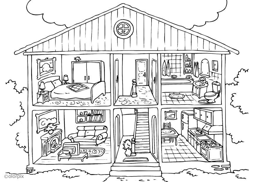 Grote Slaapkamer Delen : House Coloring Pages for Kids Printable