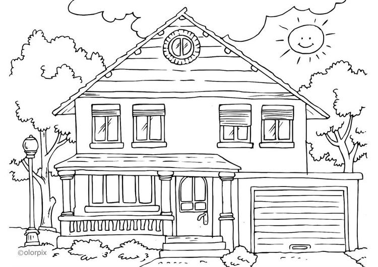 Kleurplaten Delen Van Een Huis.Kleurplaat Huis Buitenkant Afb 25996